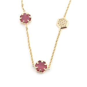 Filigree Hexagon Long Necklace - Cats Eye