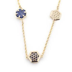 Filigree Hexagon Long Necklace - Lapis
