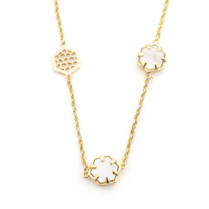 Filigree Hexagon Long Necklace - Mother of Pearl