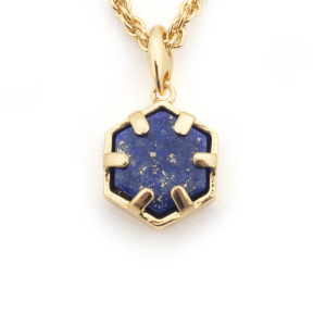 Mini Filigree Hexagon Pendant - Lapis