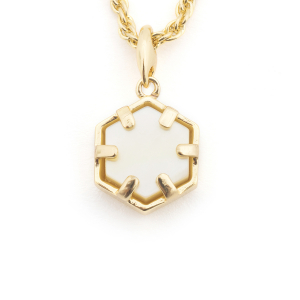 Mini Filigree Hexagon Pendant - Mother of Peal