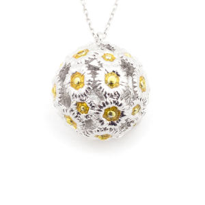 Daisy Floral Mini Ball Pendant - Rhodium