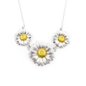 Daisy Chain Trio Necklace - Rhodium