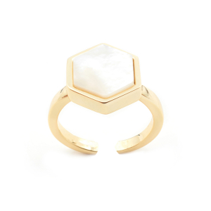 Mini Filigree Hexagon Open Ring - Mother of Pearl