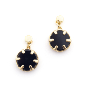 Mini Filigree Disc Earrings - Onyx