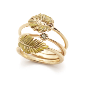 Tropical Fern Stacking Rings - Gold