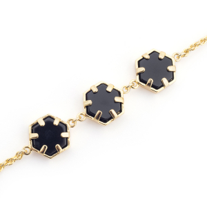 Mini Filigree Trio Hexagon Bracelet - Onyx