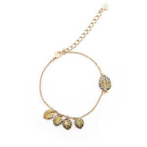 Tropical Leaf Charm Bracelet - Gold