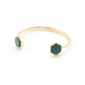Mini Filigree Hexagon Bangle - Malachite