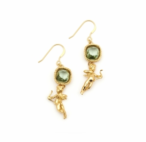 Mini Cherub Crystal Earrings (gold)