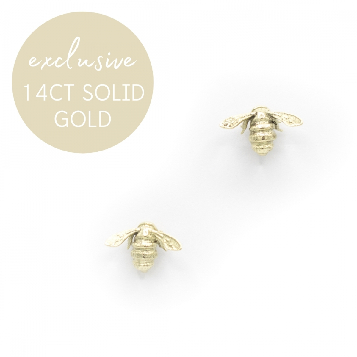 Solid 14ct Gold Bee Studs