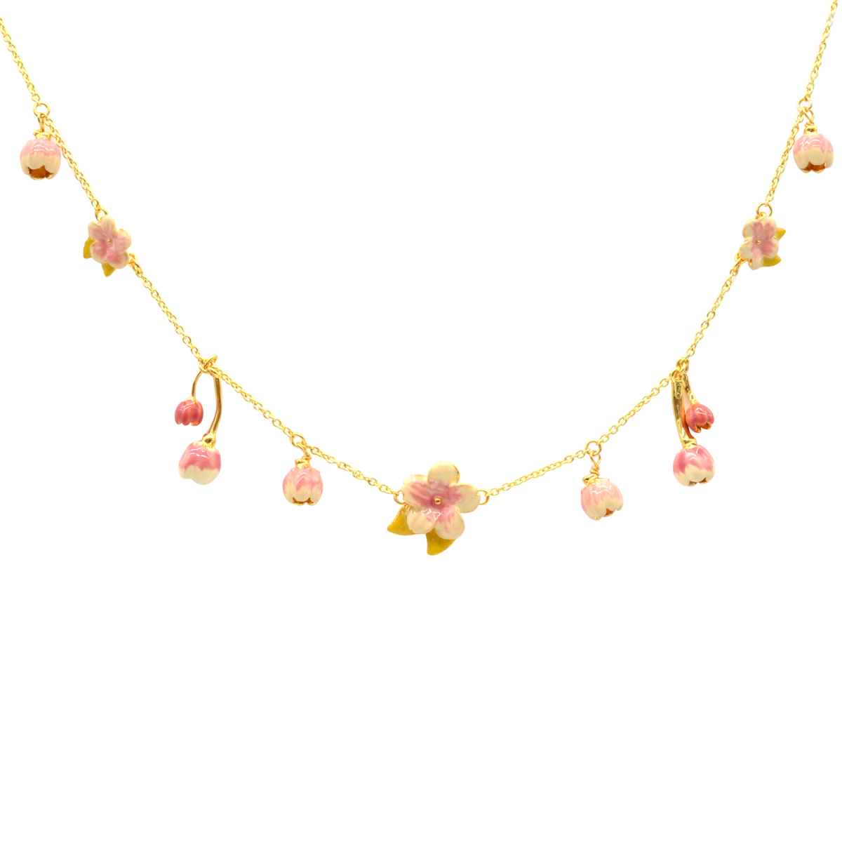 Cherry Blossom Statement Charm Necklace