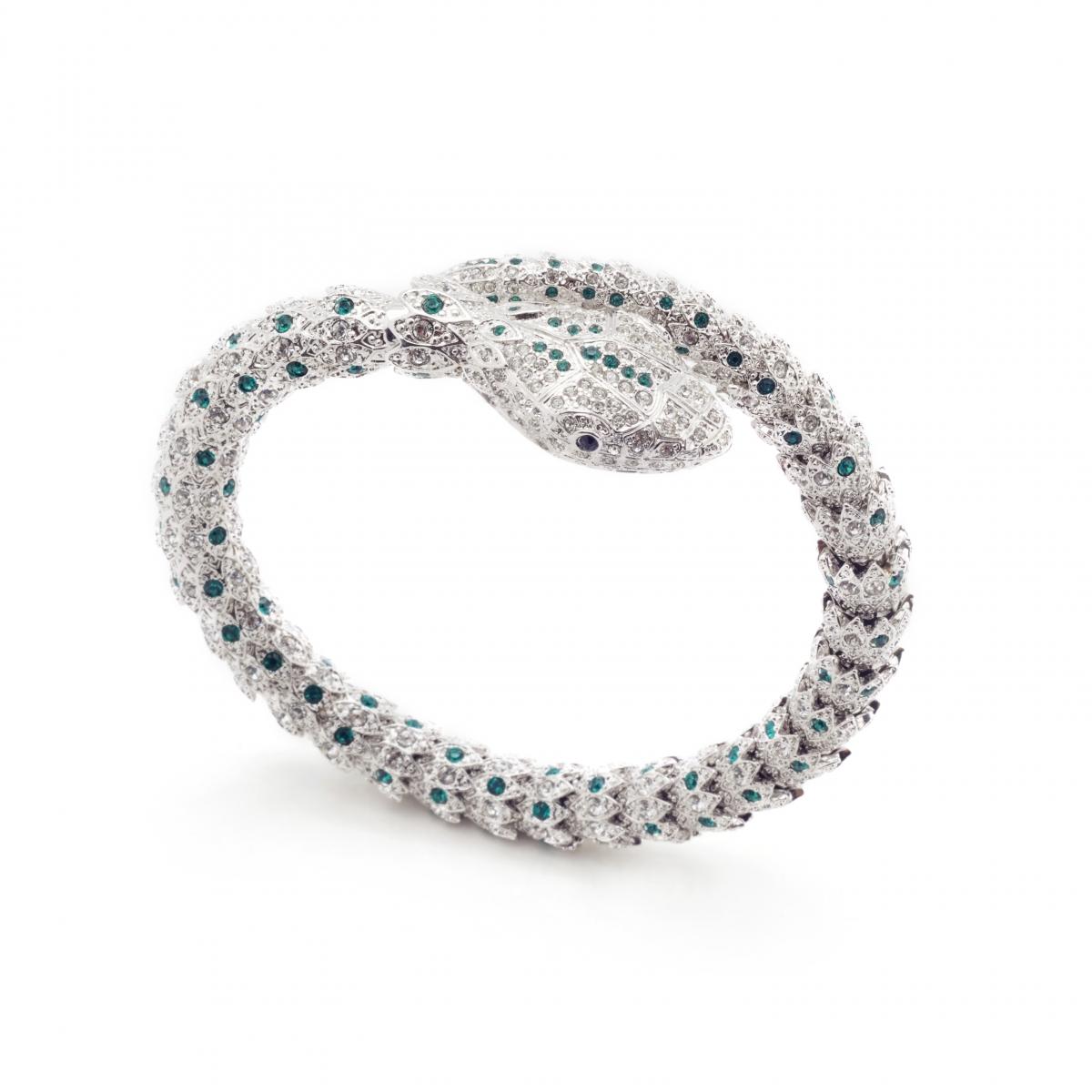 a250645573d Statement Snake Bracelet Green | Fashion Jewellery