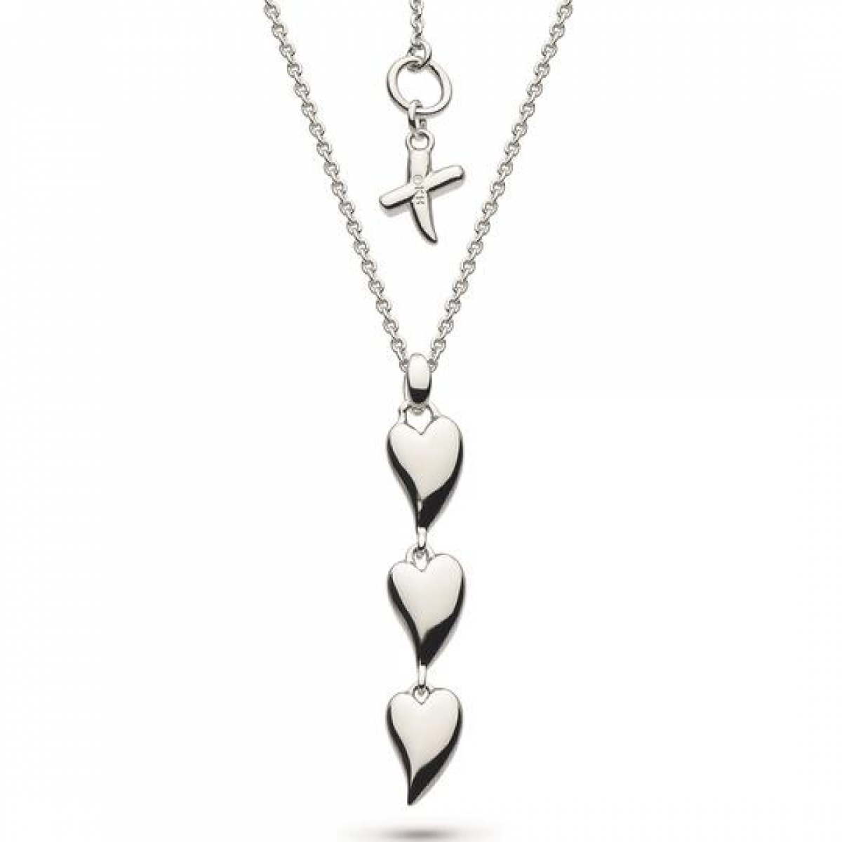 Silver Desire Kiss Triple Hearts Necklace