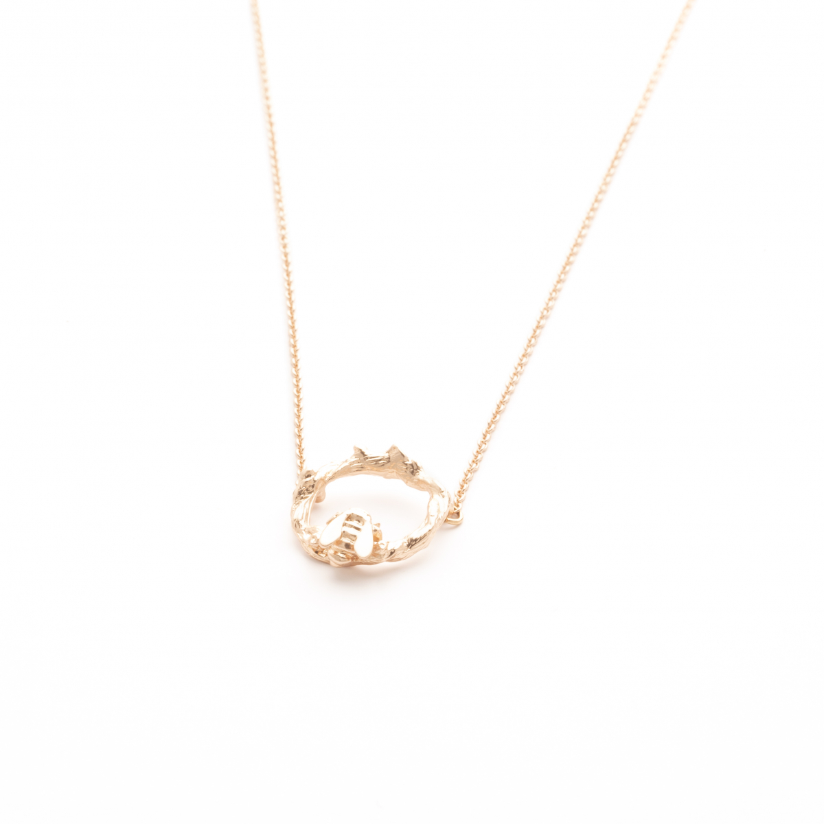 Bee & Floral Hoop Necklace - Rose Gold