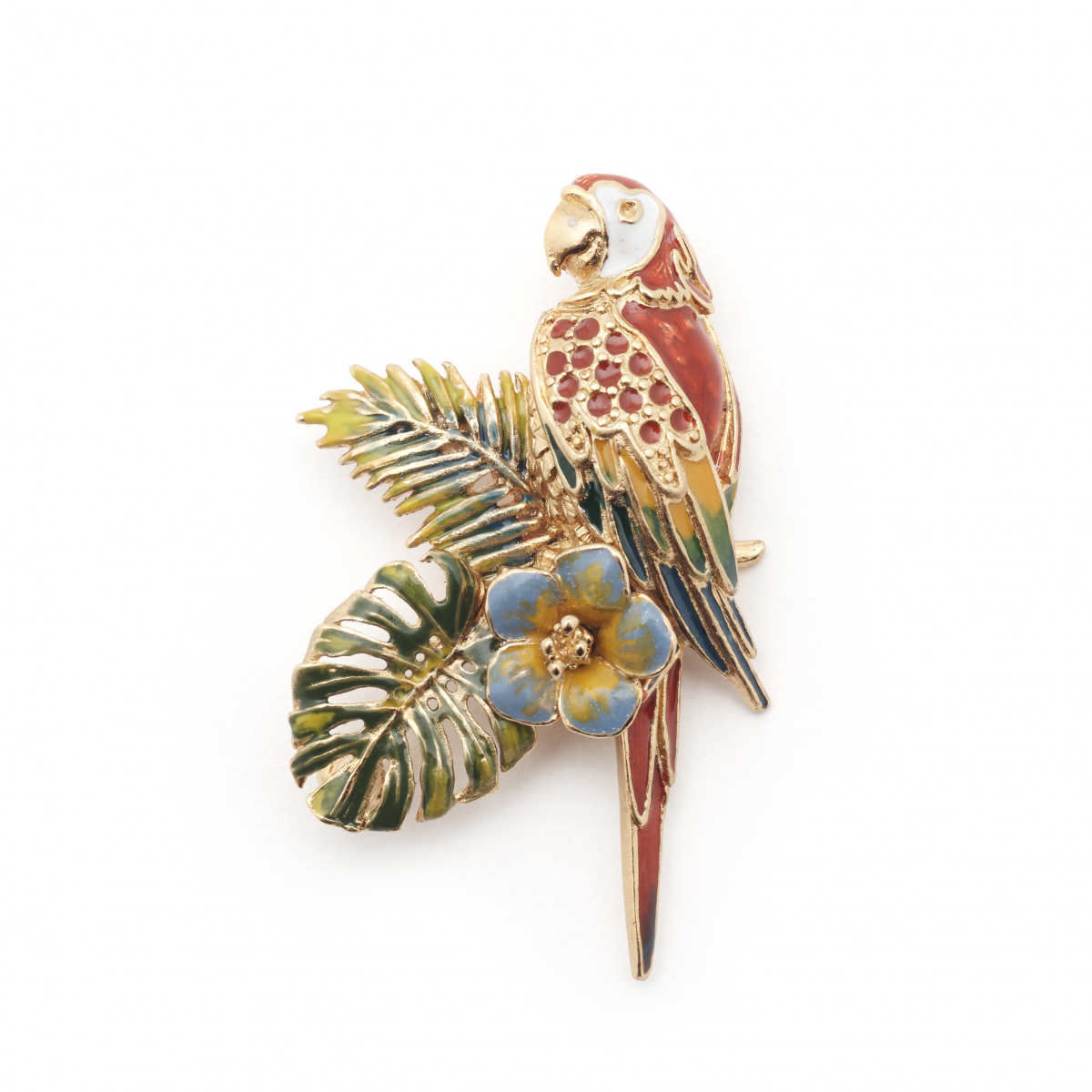 Tropical Parrot Brooch - Gold