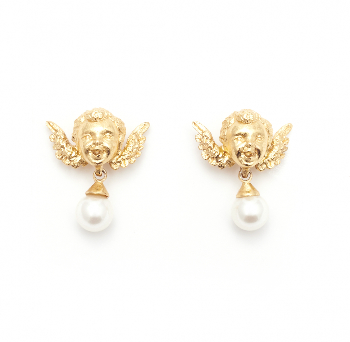 CHERUB  EARRINGS GOLD WITH PEARL