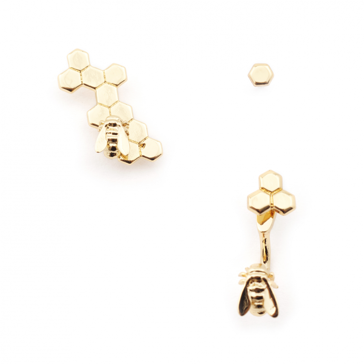 Micro Bee Hexagon Through Earring with Honeycomb Climber - Gold