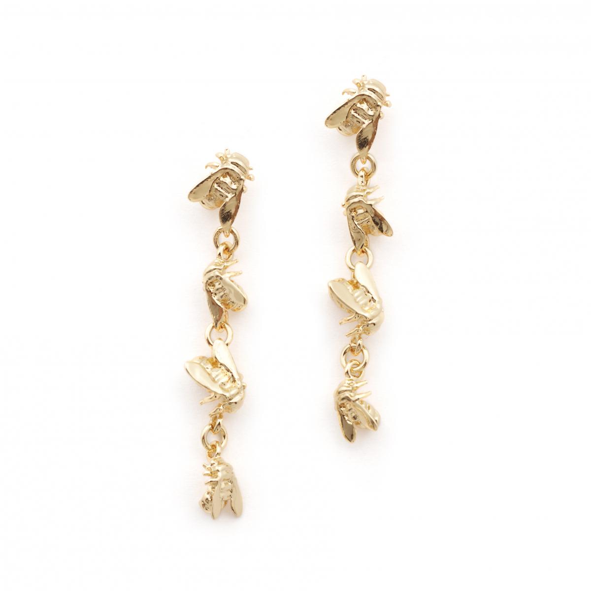 Bee Drop Link Earrings Gold Fashion Jewellery
