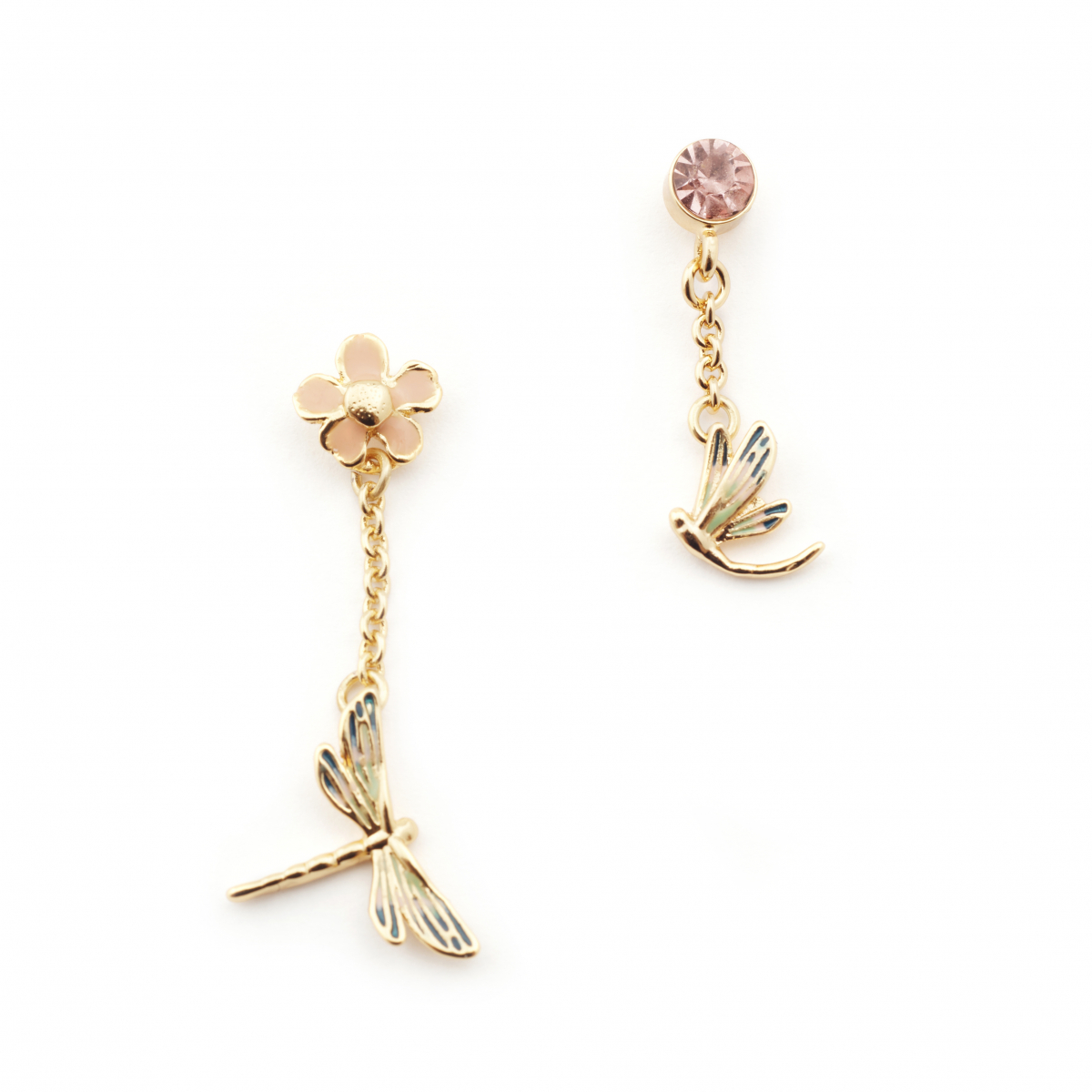 Dragonfly Crystal Drop Earrings - Gold
