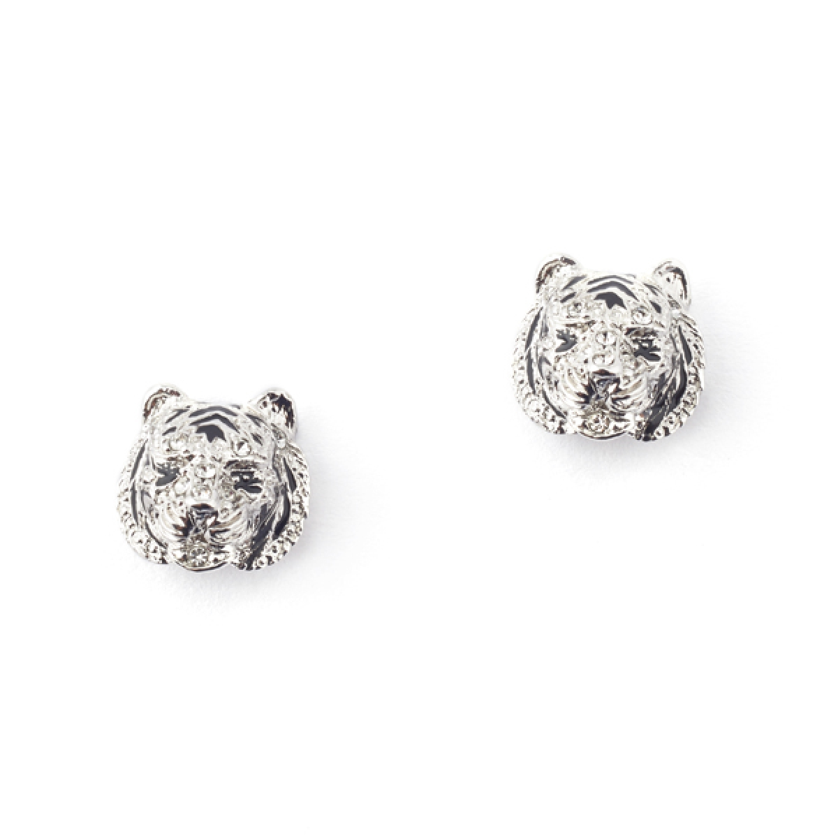 White Tiger Stud Earrings