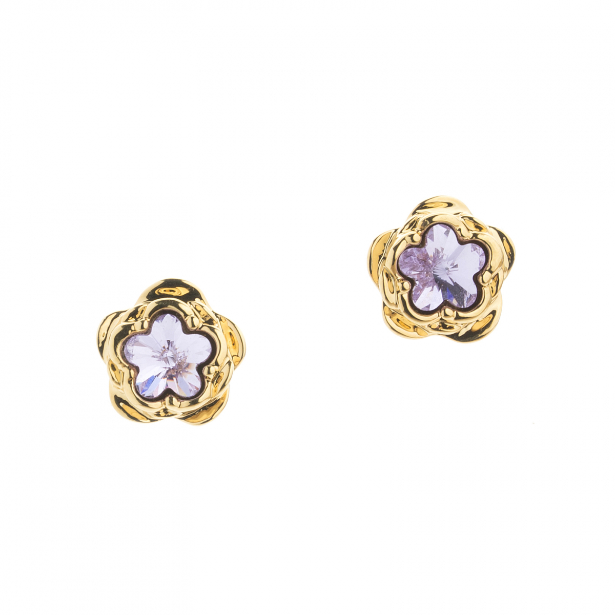 Large Botanical Floral Clip On Earring - Gold