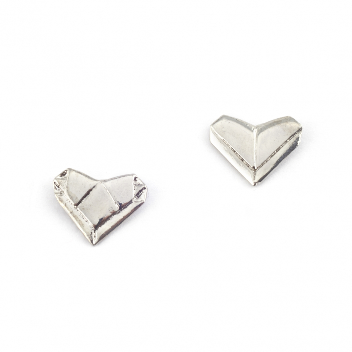 SILVER ORIGAMI HEART EARRINGS