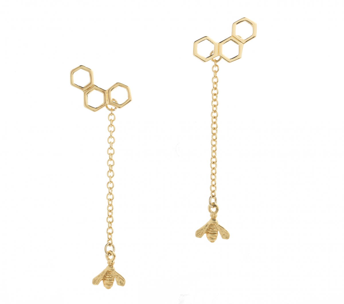 Trilogy Hexagon Bee Drop Earring