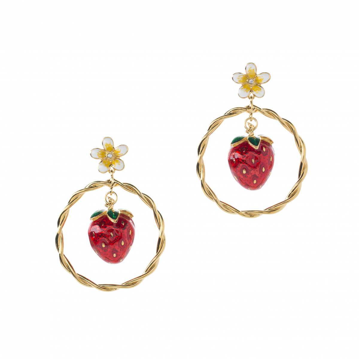 Strawberry Circle Stud Earring