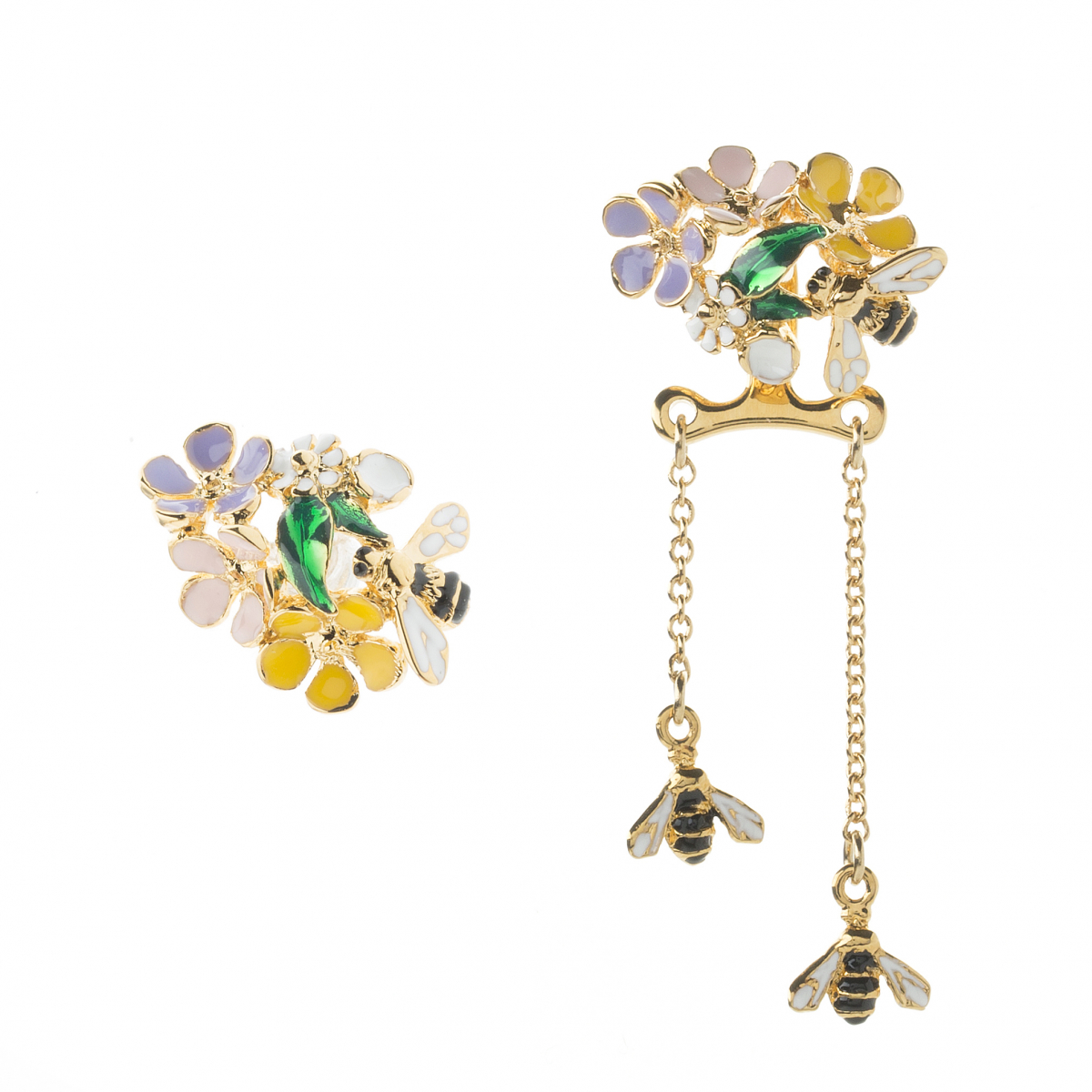 Bee & Floral Cluster Drop Earring