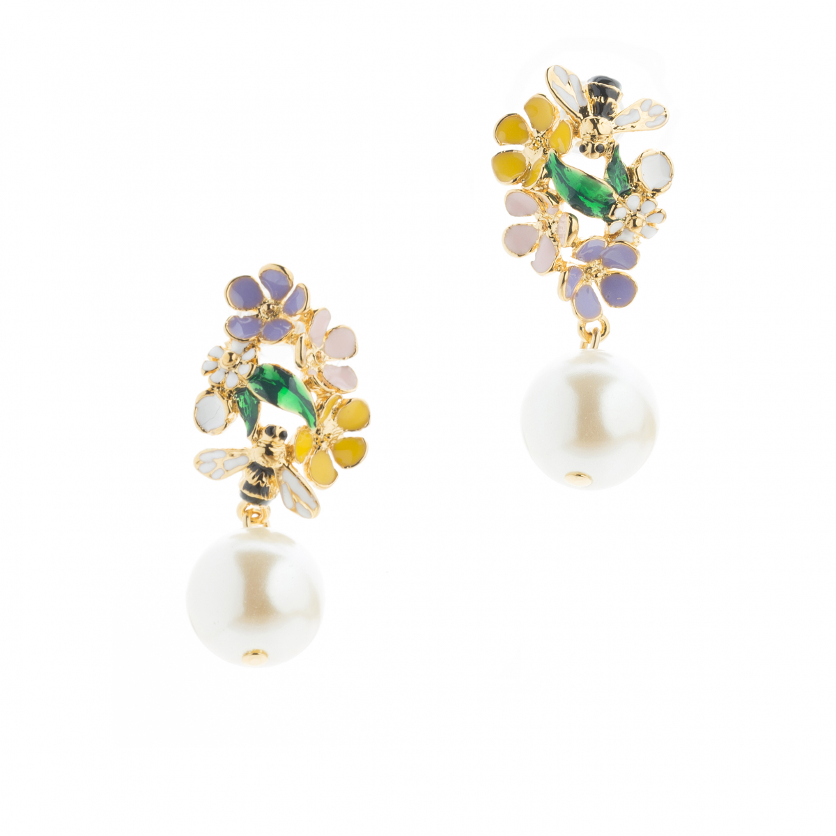 Bee Amp Ladybird Floral Cluster Pearl Drop Earring Fashion