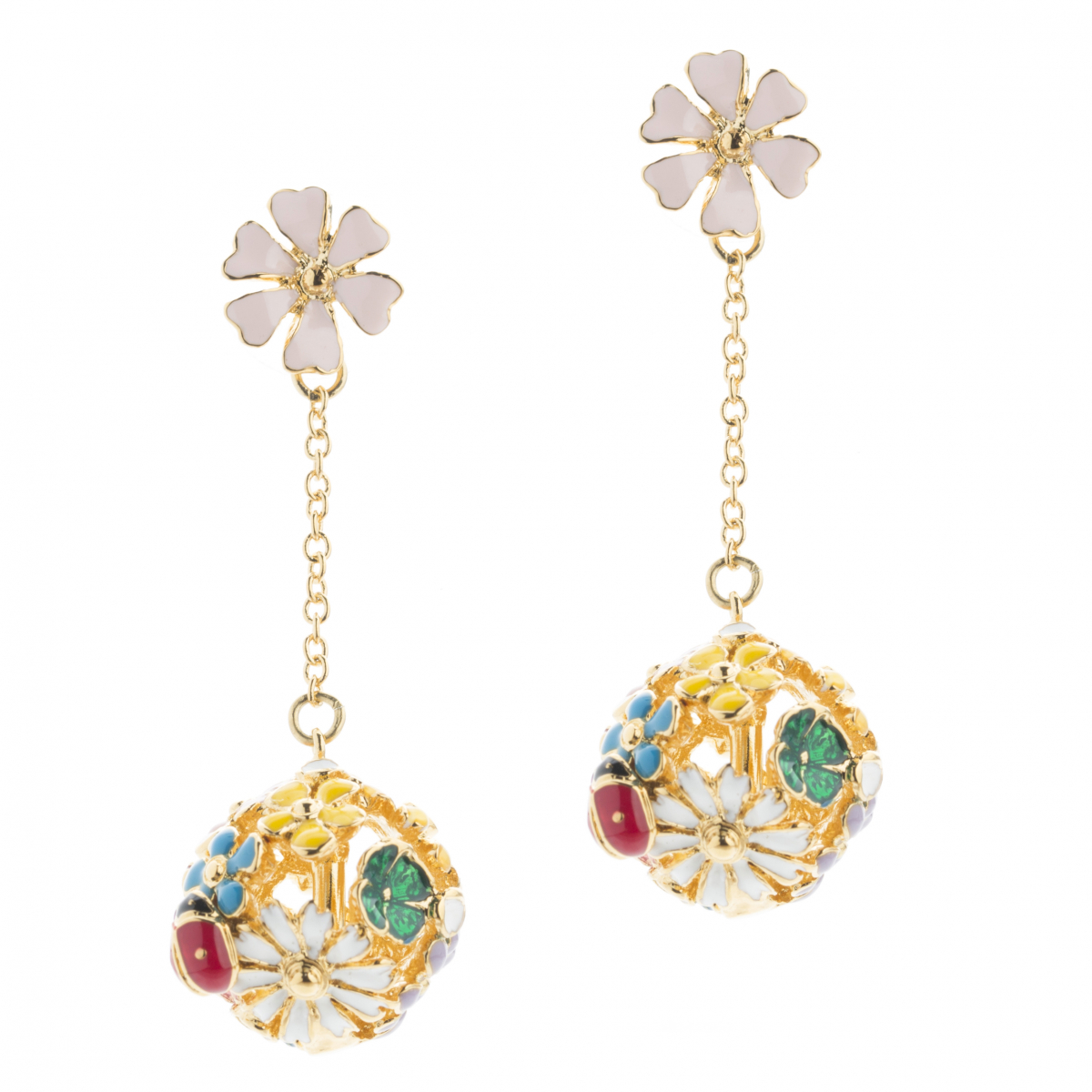 Floral Orb Drop Earrings