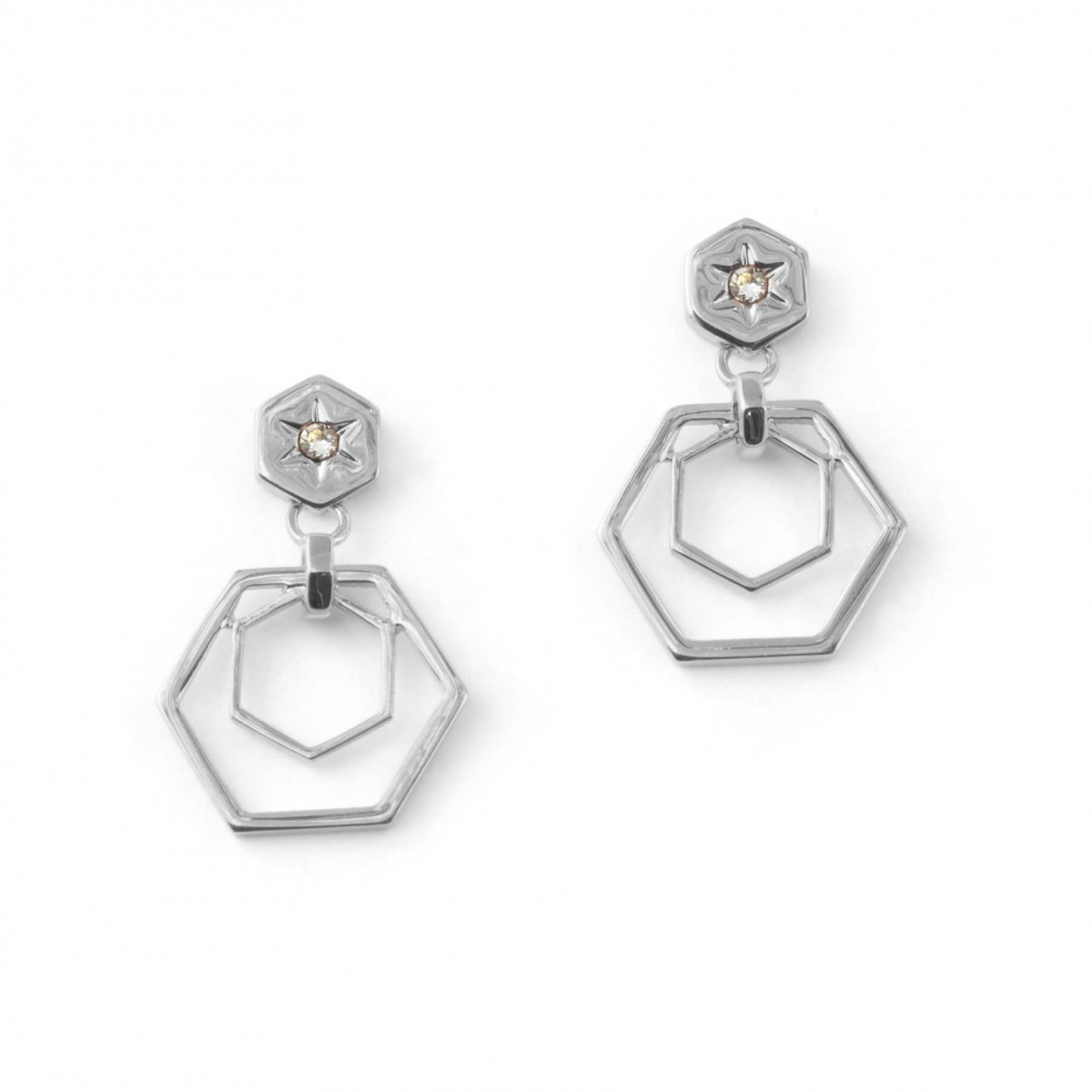 Hexagon Bee Drop Earrings Rhodium
