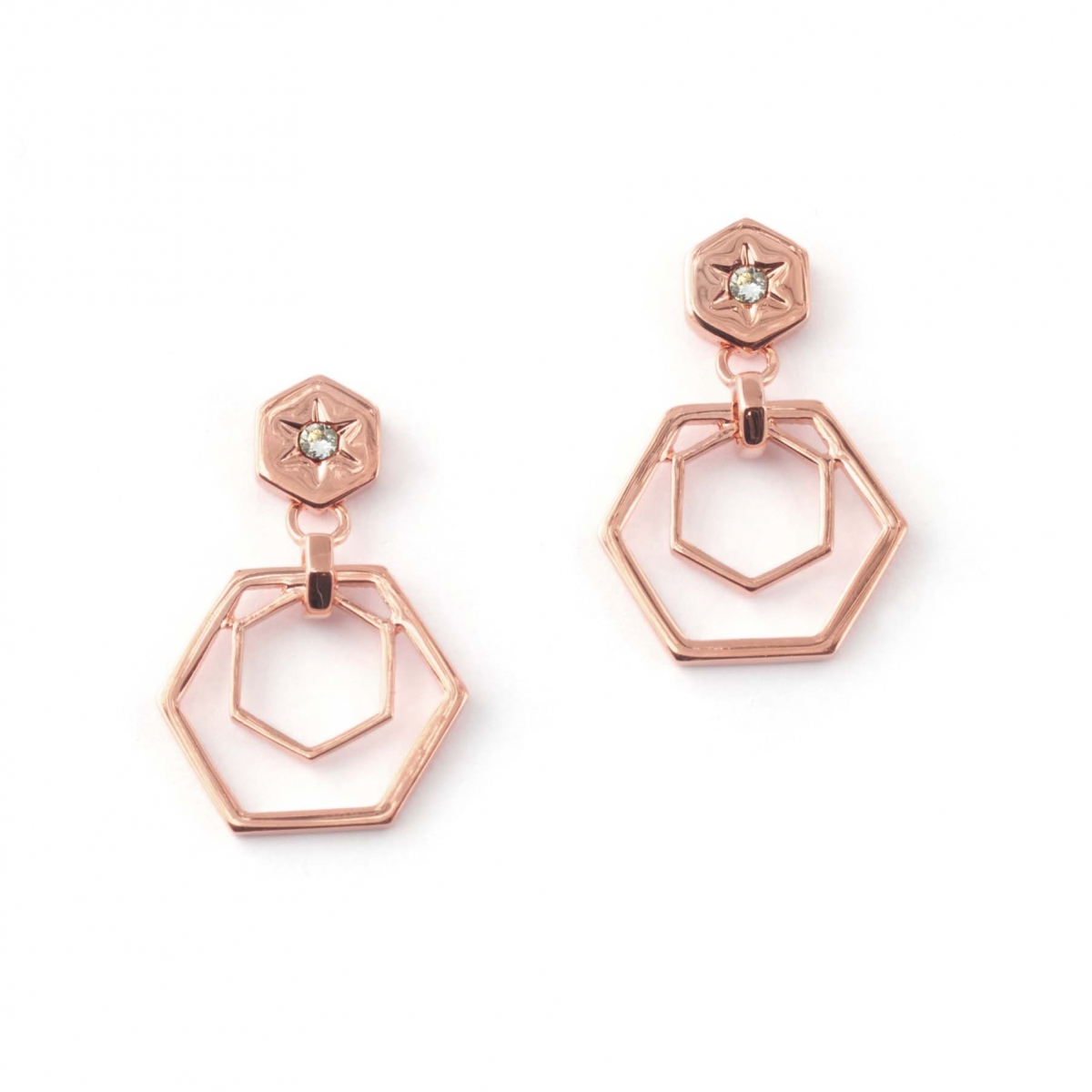 Hexagon Bee Drop Earrings Rose Gold