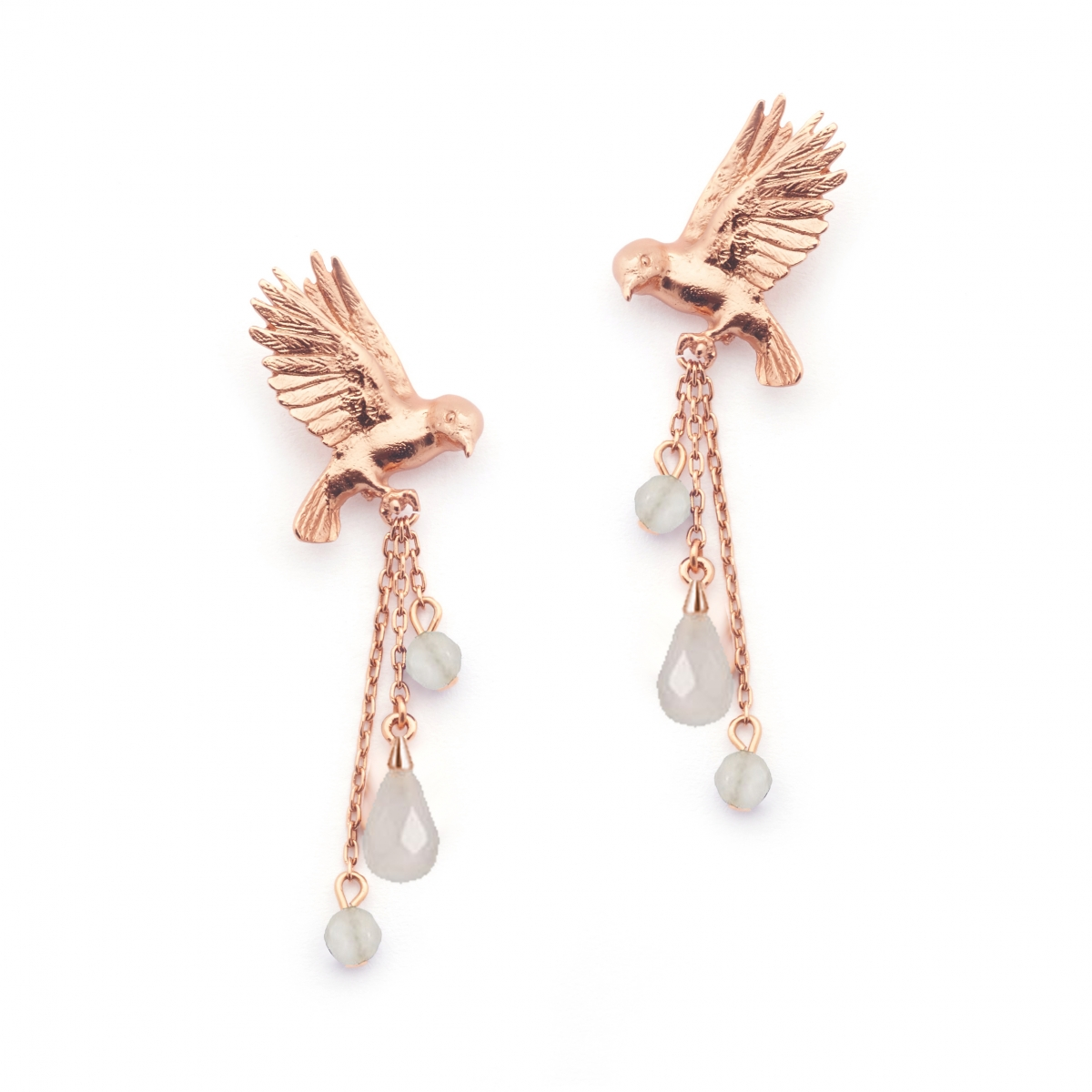 Double Bird Earring Rose Gold