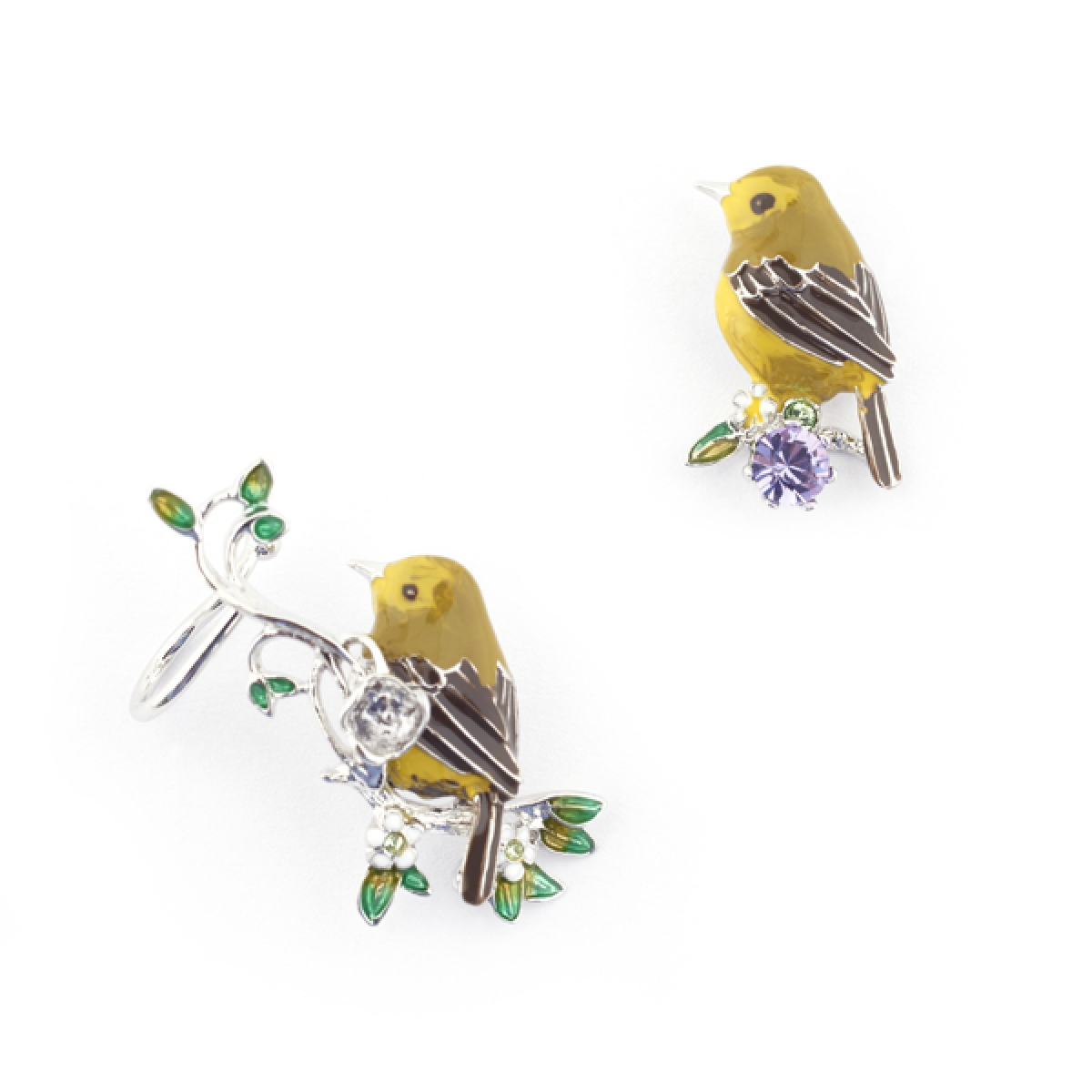 Gold Crest Stud & Ear Climber (Rhodium)