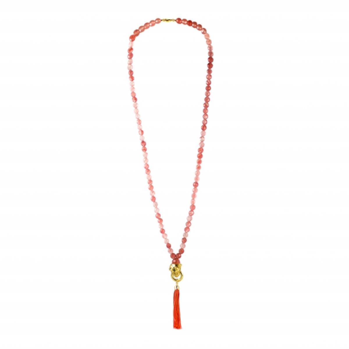 TIGER TASSEL CHERRY QUARTZ NECKLACE