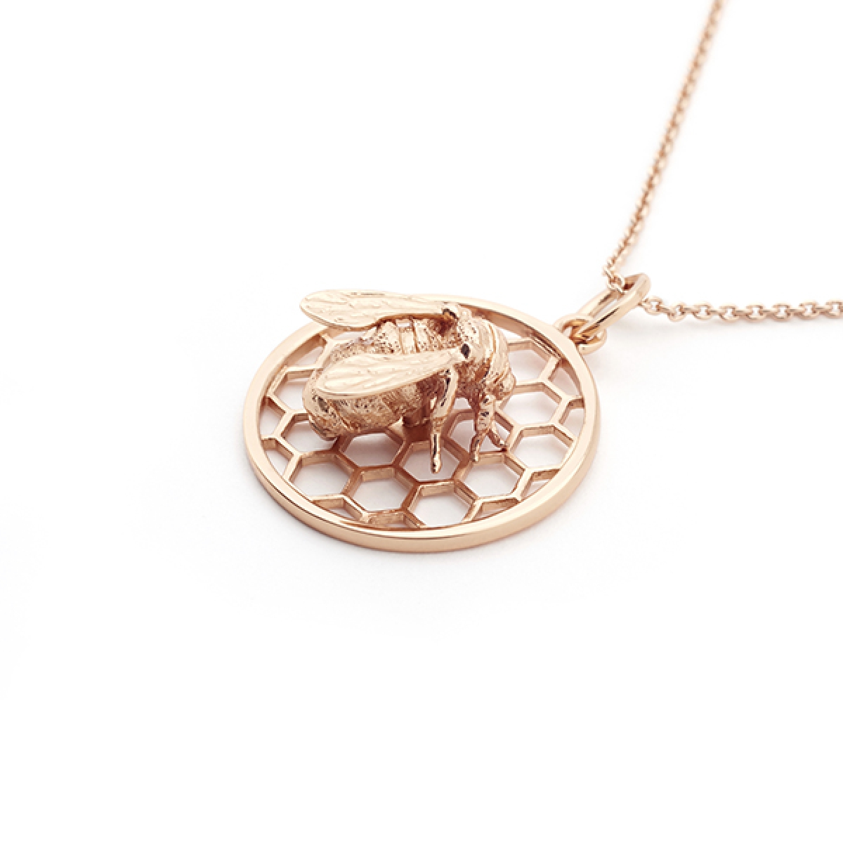 Bee & Honeycomb Pendant Rose Gold