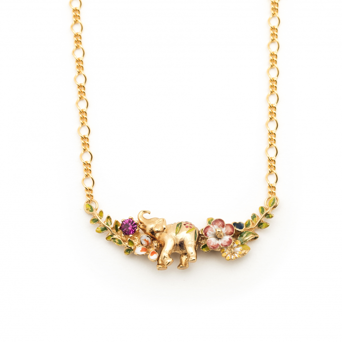 Elephant Floral Statement Necklace - Gold