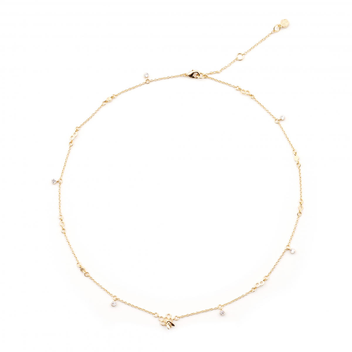 Hexagon Bee Station Short Necklace - Gold