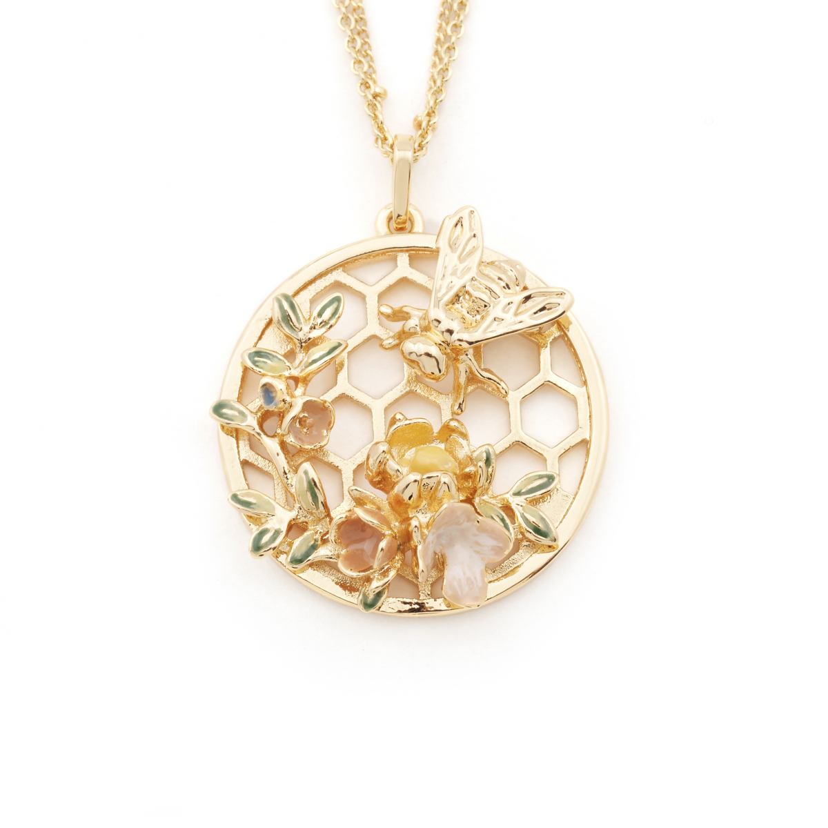 Bee & Honeycomb Floral Disc Pendant - Gold