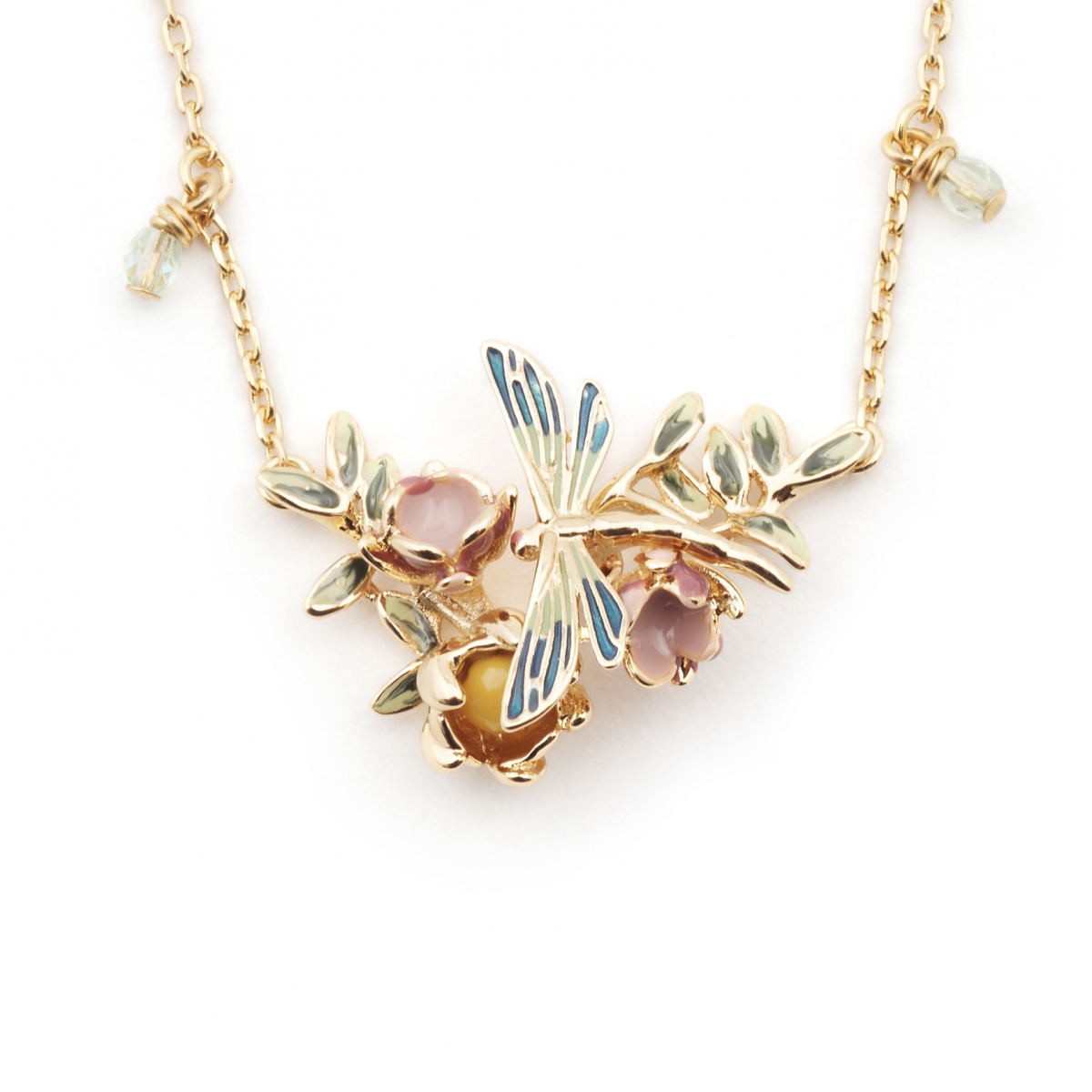 Dragonfly Floral Pendant - Gold