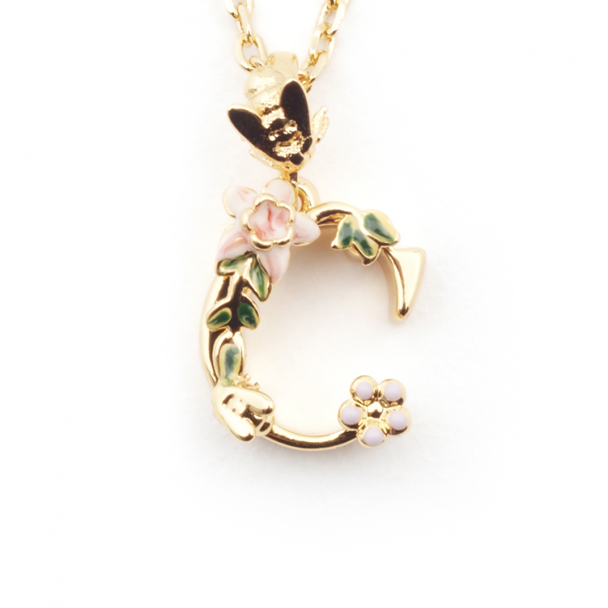 Floral initial pendant c fashion jewellery aloadofball Images
