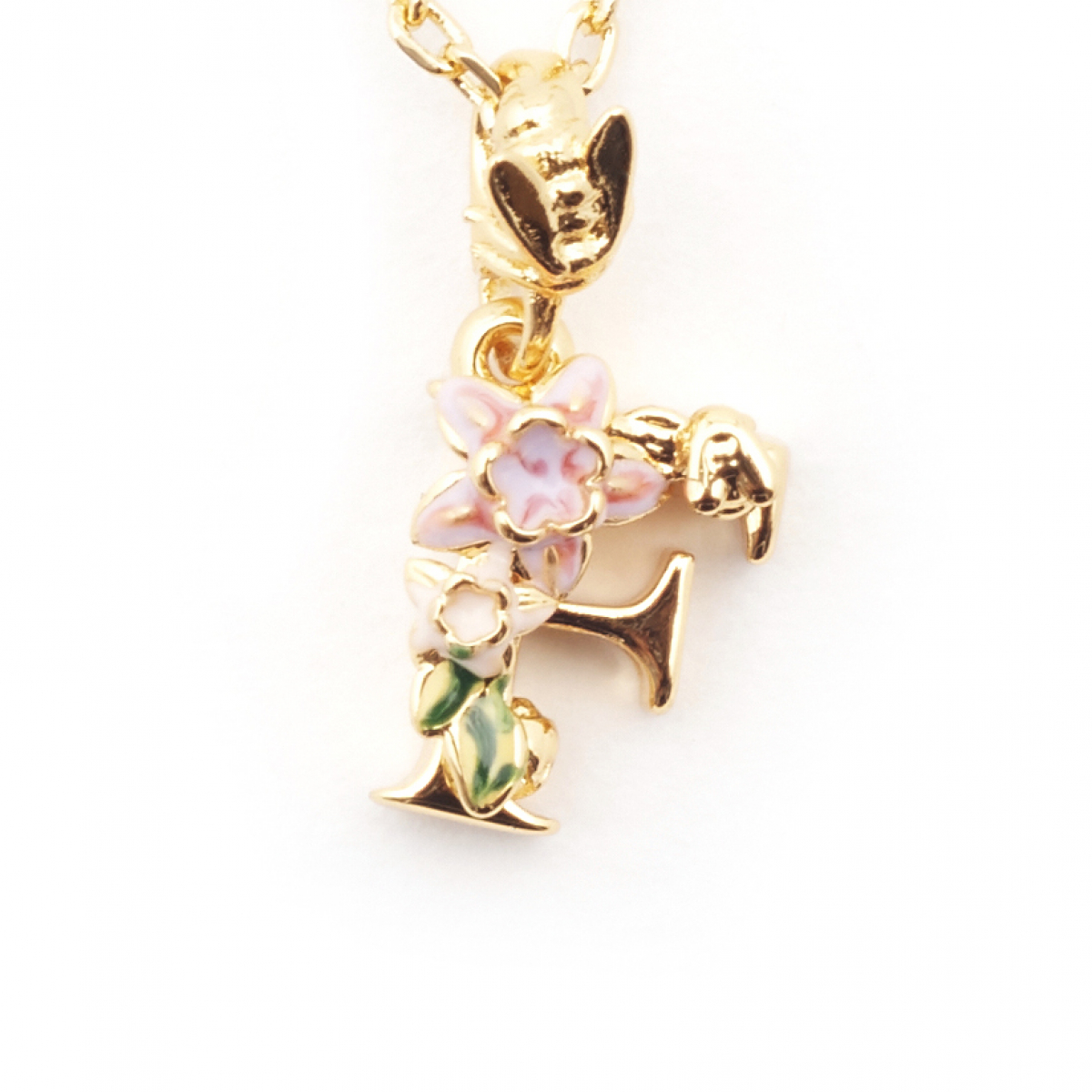 Floral Initial Pendant - F