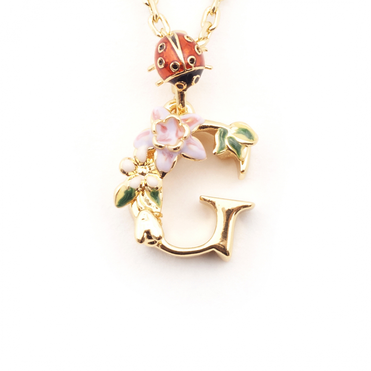 Floral Initial Pendant - G