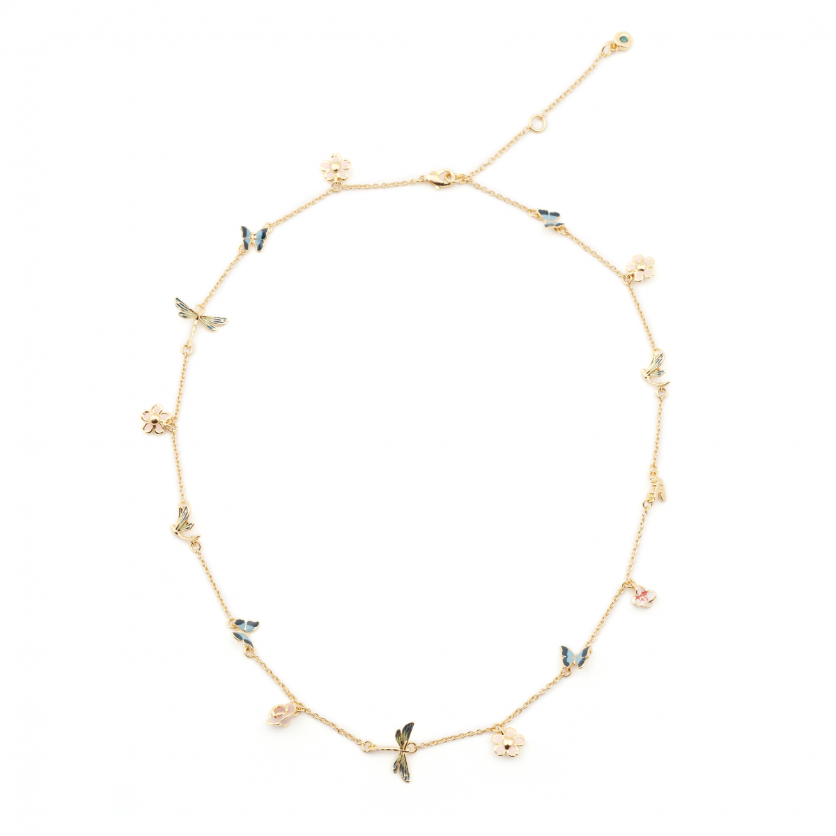 Butterfly & Dragonfly Short Necklace - Gold