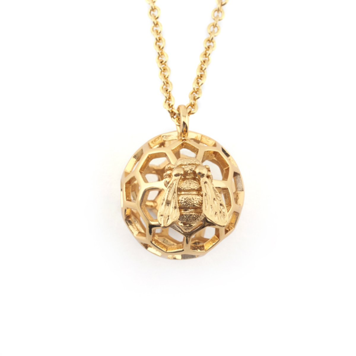 Baby Bee & Honeycomb Orb Necklace Gold