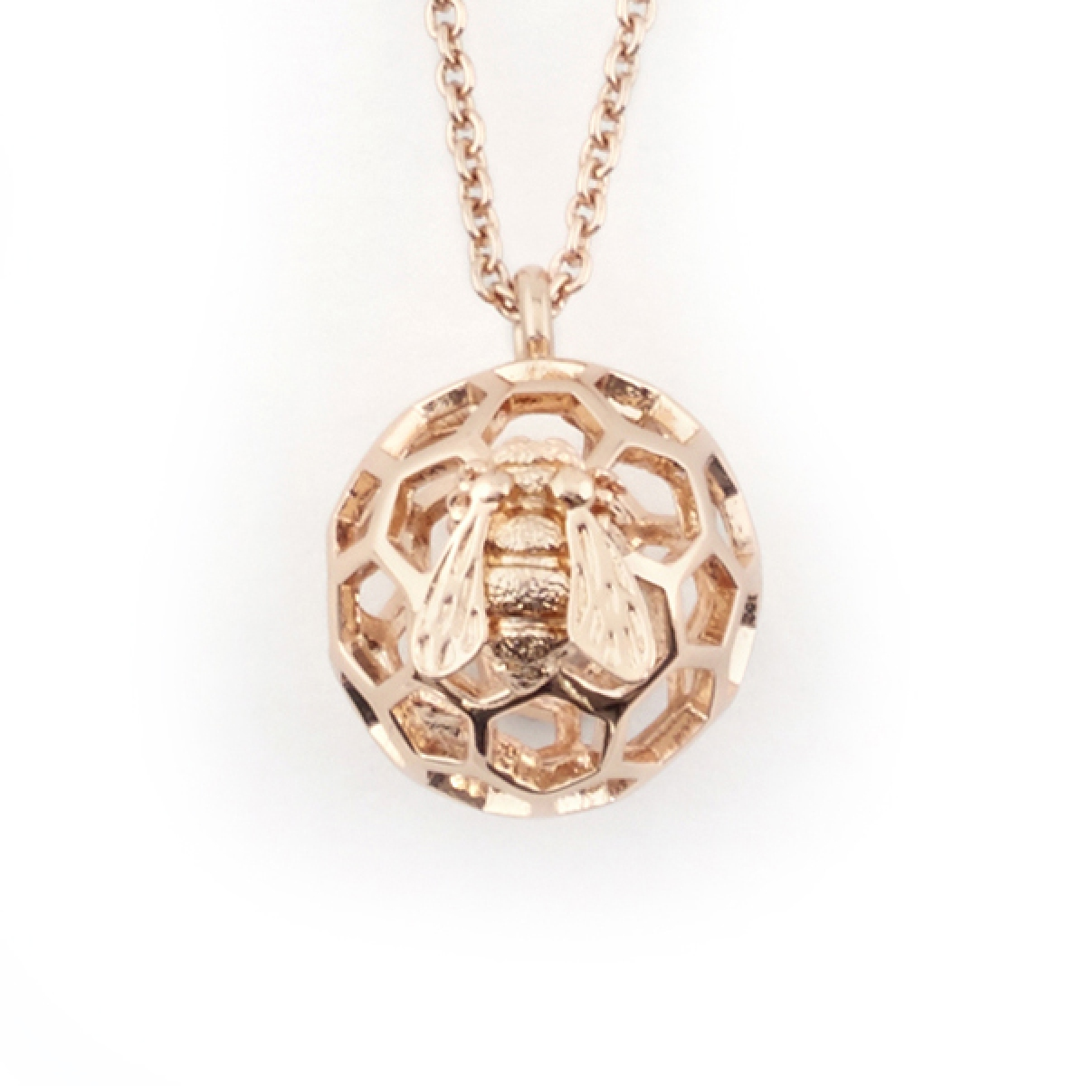 Baby Bee & Honeycomb Orb Necklace Rose Gold