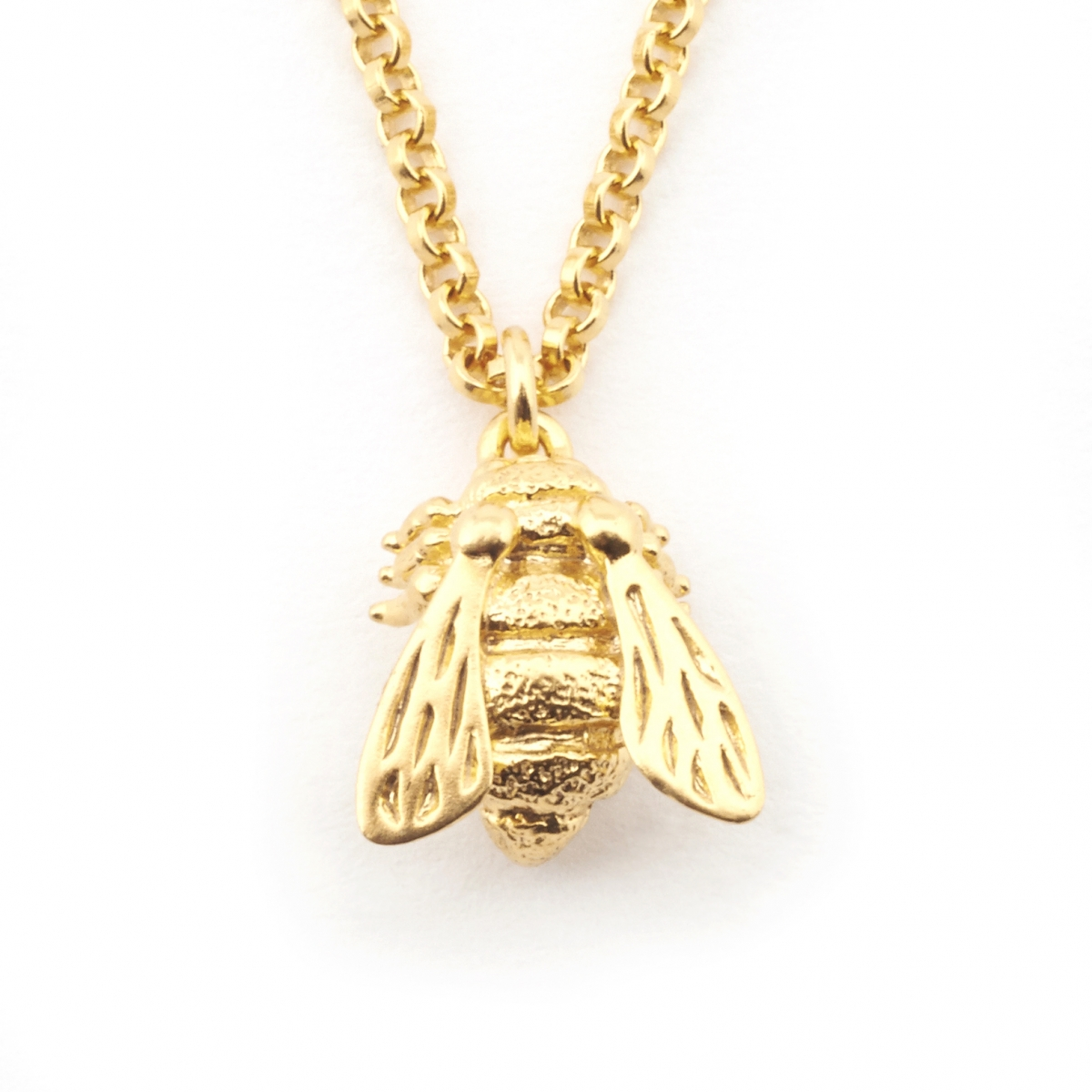 Baby Bee Pendant - Sterling Silver Base Plated in Gold