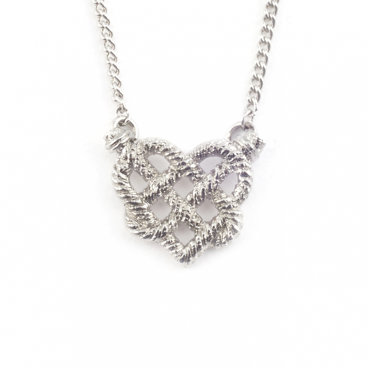 SILVER KNOTTED HEART PENDANT